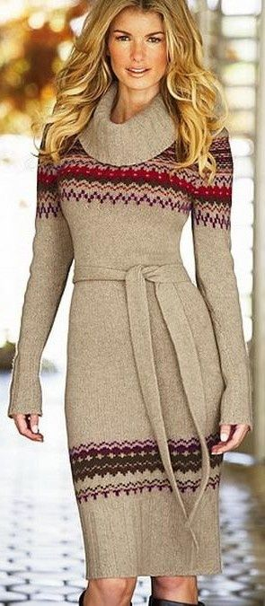 Pretty belted knee length cowl neck sweater dress