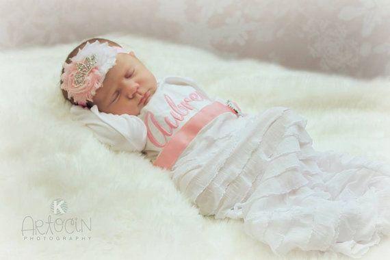 Tiara Headband Shabby Chic Baby Girl Newborn Girl by sassylocks