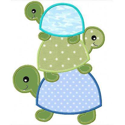 three turtles applique machine embroidery design by FunStitch