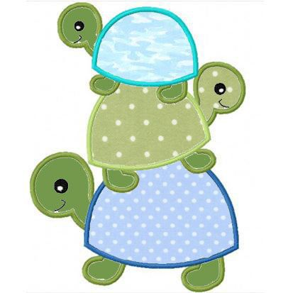 three turtles applique machine embroidery design by FunStitch