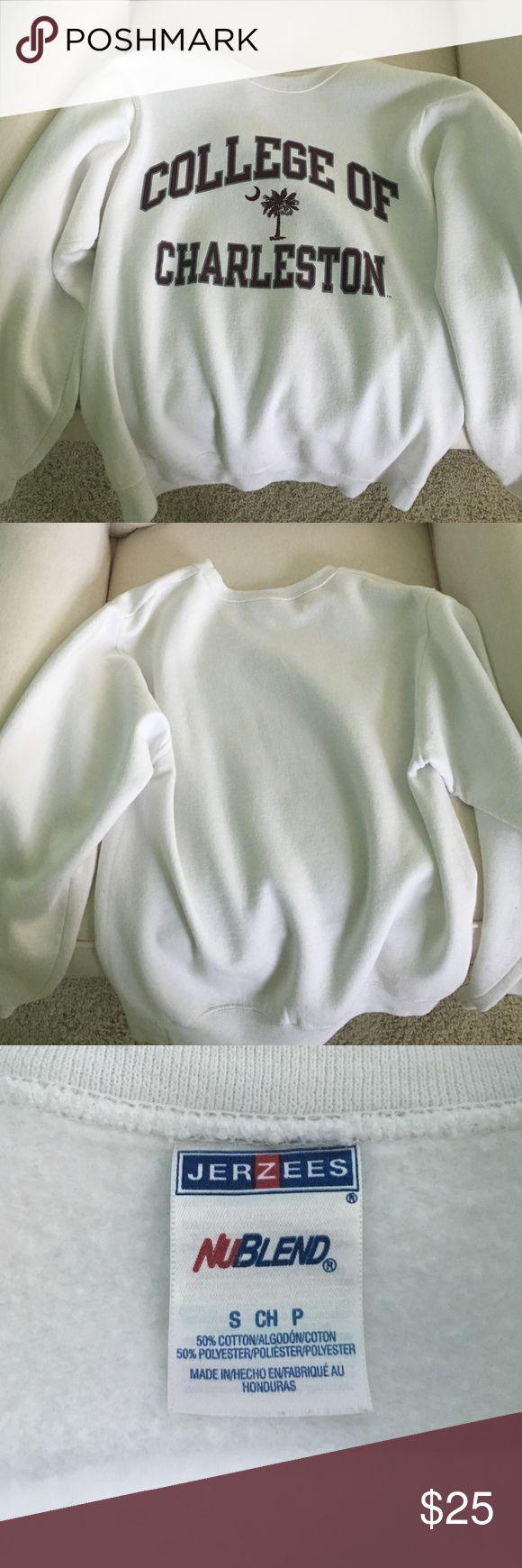 White college of Charleston crew neck sweatshirt Great condition Hardly worn white sweat shirt Jackets & Coats