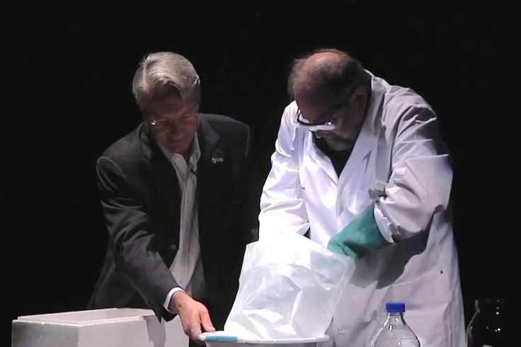 Cooking a comet - VIDEO  Using party ice, water and charcoal, Rosetta Mission engineer Warwick Holmes and University of Waikato's John Little create a model of a comet in front of a live audience.