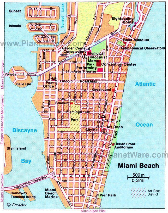 Miami Beach Map Tourist Attractions Miami Beach Map Map Of Miami Florida Miami Map