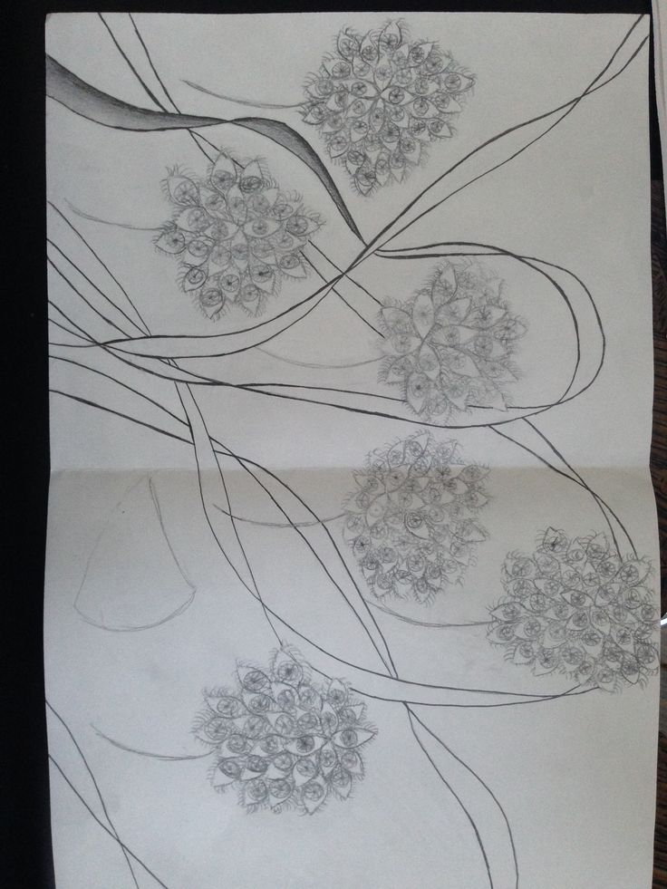 "Sketch book #7 ""Obsession Peice""- My obsession peice is very repetitive and shows a graceful movement.  My obsessions consist of eyes and flowers.  The graceful movement is shown by the positions of the flowers and the flow of the ribons."
