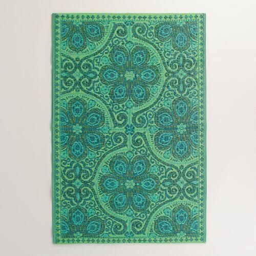 Green Blue Nomad Tiles Rio Indoor-Outdoor Mat | World Market