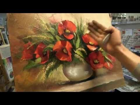 Матер-Класс живописи маслом. Пишем Маки мастихином. Новое - YouTube