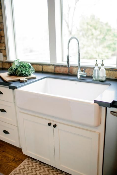 Fixer upper country style in a very small town joanna for Very small kitchen sinks