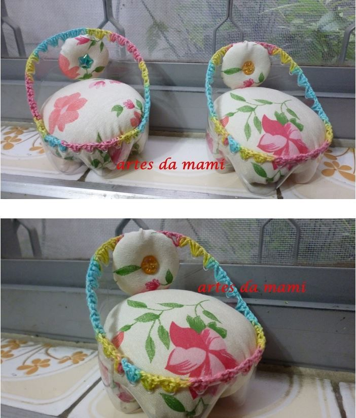 Cute little bed pincushion - made from plastic bottle. :)