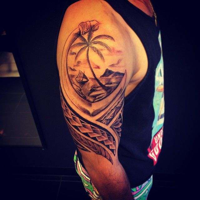 Hafa adai, half a sleeve. First tattoo!