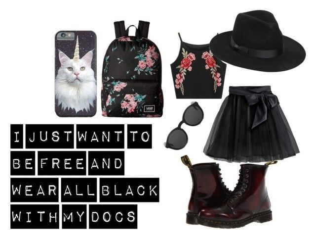 """""""Looking cool in my Docs"""" by no-one-who-cares ❤ liked on Polyvore featuring Little Wardrobe London, Dr. Martens, Lack of Color, Monokel and Vans"""