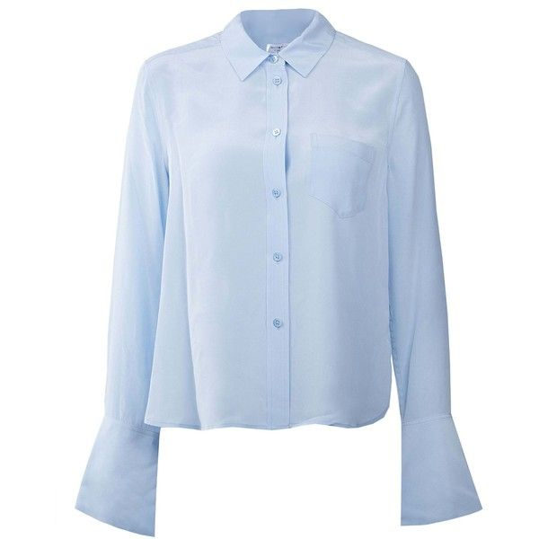 Long Sleeved Shirt ($310) ❤ liked on Polyvore featuring tops, blouses, skylight, blue blouse, silk shirt, blue silk shirt, blue long sleeve blouse and extra long sleeve shirts