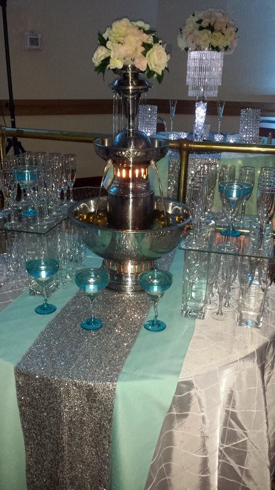 Tiffany Blue Champagne fountain Jordan  Co  Jordan  Co  Champagne fountain Quinceanera