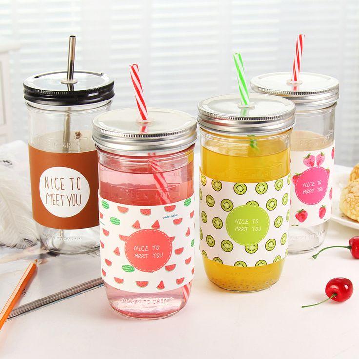 Creative Fruit Transparent Juice Glass Cup Mason Jar Lemon Water Bottles with Straw Sport Water Bottle C