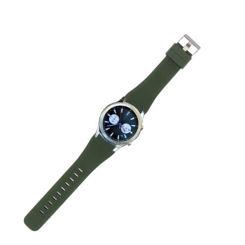 [$1.74] For Samsung Gear S3 Classic Smart Watch Silicone Watchband, Length: about 22.4cm(Army Green)