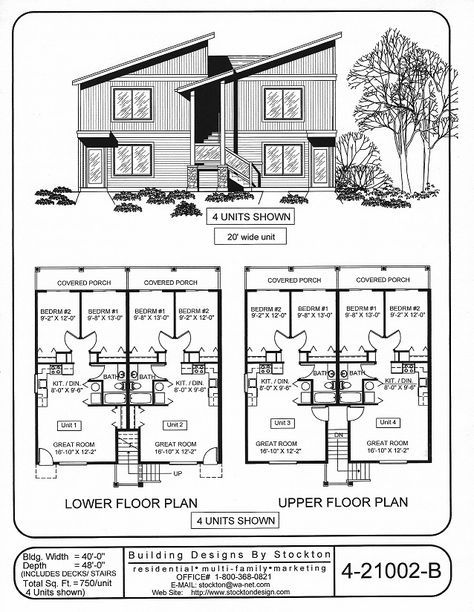4-plex Building Designs by Stockton: Plan # 4-21002-B | QResidences ...