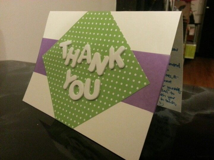 Green polka dot thank you card