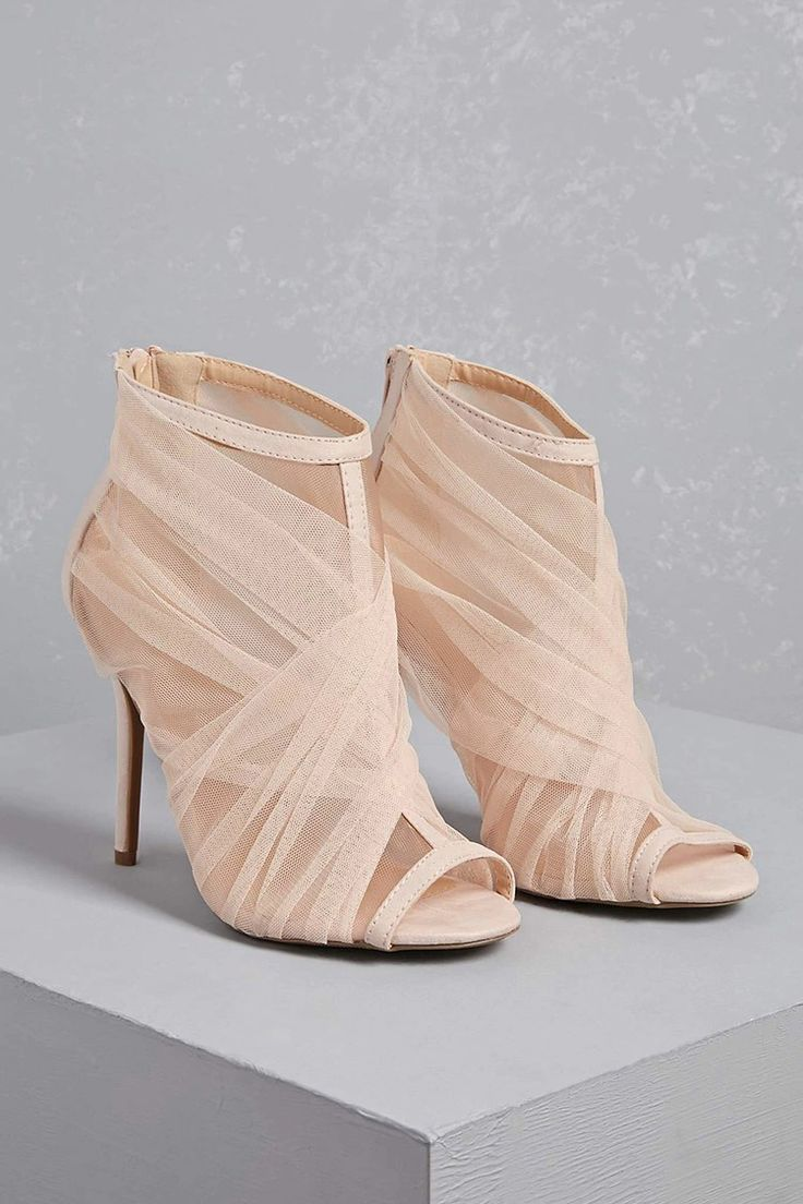 A pair of mesh-panel ankle boots featuring a sheer mesh ruched design, a peep toe, zipper back, and a stiletto heel.<p>- This is an independent brand and not a Forever 21 branded item.</p>