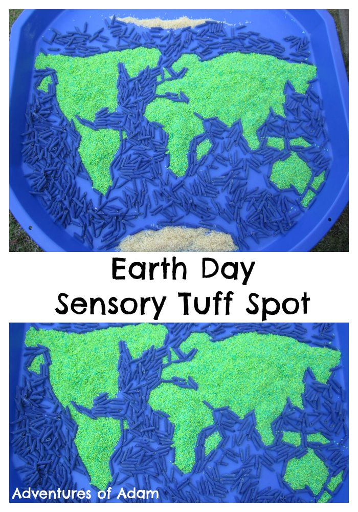 Earth Day Sensory Tuff Spot. Create your own sensory globe Tuff Spot to celebrate Earth Day.