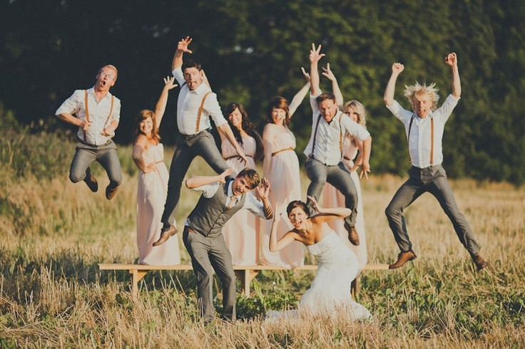 fun wedding party pictures - I love everything about this… The groomsmen and bridesmaid dresses… so fun!