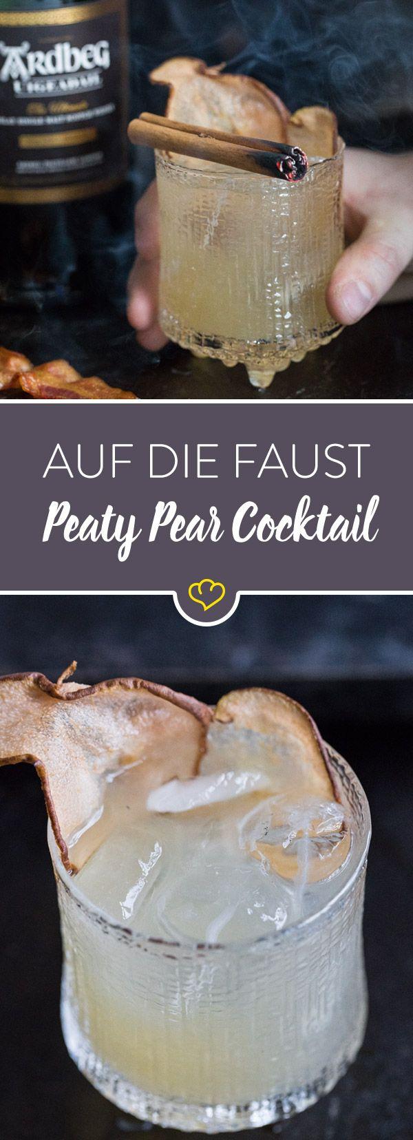 Du hast Lust auf einen etwas anderen Herbst Cocktail? Dann mixe dir einen Peaty Pear mit Ardbeg Uigeadail, Birne und Bacon!