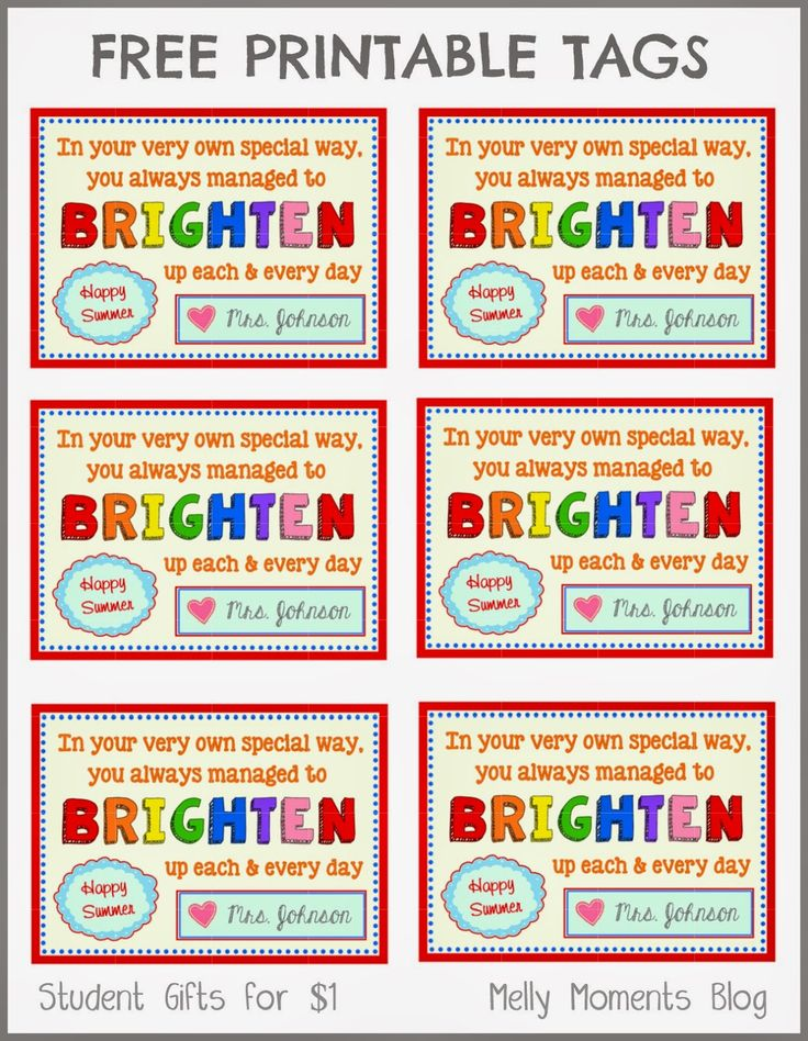 FREE End of Year gift tag printables from teacher to student! Download the label, as it goes perfectly with glow bracelets, necklaces, wands, etc. (Melly Moments Blog)