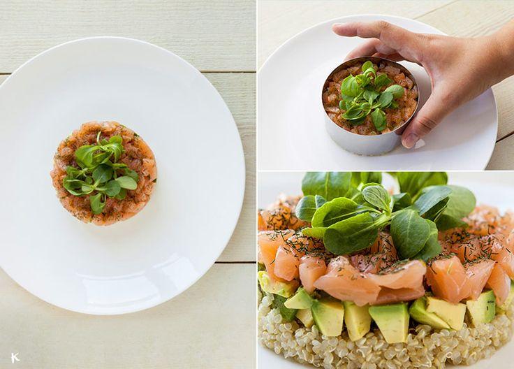La quinoa es la semilla de moda, y esperemos que por mucho tiempo porque nos gusta mucho lo fácil que es para combinar en recetas tanto duldes como saladas. Esta ensalada es rápida y muy fácil de hacer. Si además la presentas en forma de timbal, el éxito está asegurado :)
