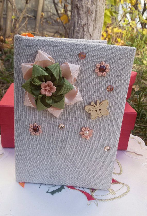 Fabric covered notebook small Shabby Chic journal by Rocreanique on Etsy