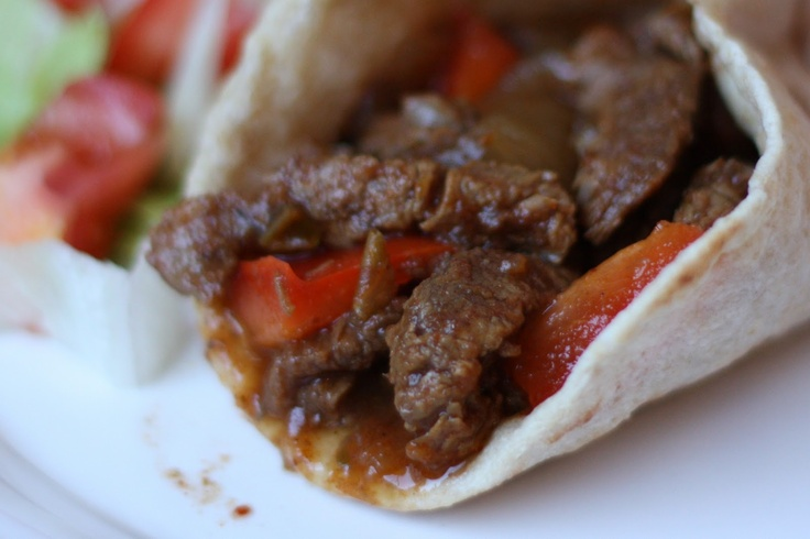 Slow Cooked Chili Steak Fajitas - Made in the Crockpot
