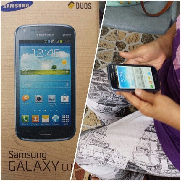 New #gadget for nany :-) #samsung #galaxycore #cellphone お母さんへ #スマホ #プレゼント #philippines #フィリピン #サムソン #ギャラクシー