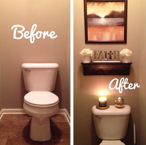 Before and after bathroom apartment bathroom great for Guest bathroom decorating ideas pictures