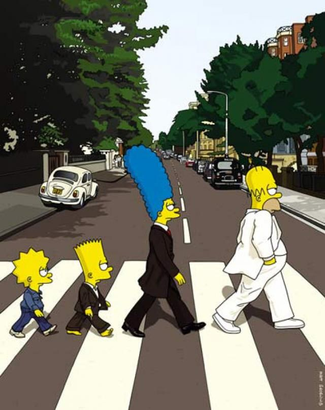 The Simpsons' Abbey Road [Matt Groening] http://oigofotos.wordpress.com/2013/11/07/the-beatles-cruzando-abbey-road-portadas-mas-famosas-y-analizadas-musica/