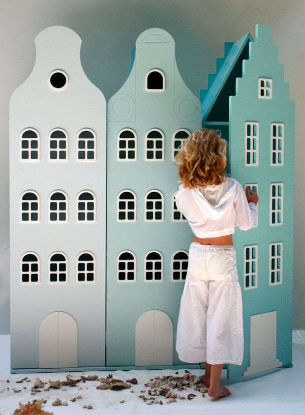 Adorable storage cabinets in the shape of Amsterdam canal houses - by Tulp Kids