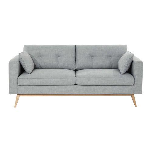 Canapé 3 places en tissu gris clair