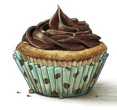 .chocolate icing on a cupcake art work