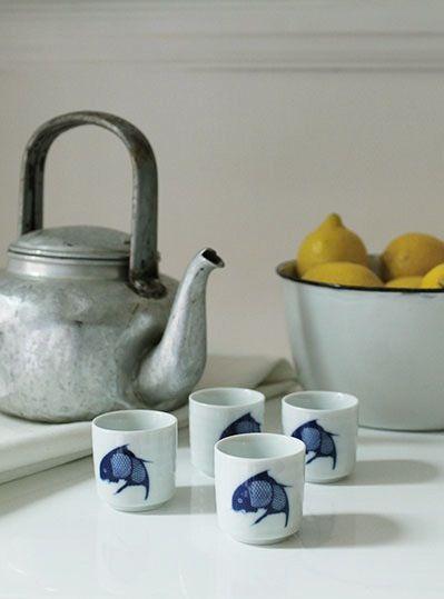 Image of Vintage Blue Fish Sake Cups (Set of 4)