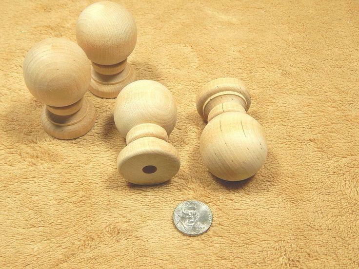 Hard Wood Wooden Unfinished Bun Bunn Feet Ball Finials Lot Of 4