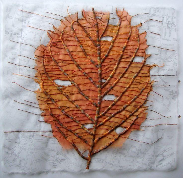 silk organza, print, stitch  Leaf by Ailie Snow
