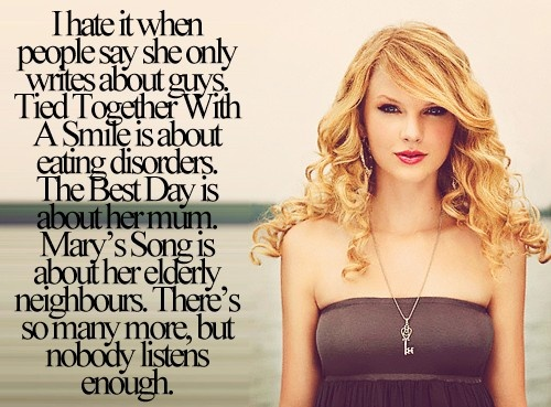 This is so true about Taylor's songs.  The Lucky One was based on a former starlet, Starlight was based on Ethel Kennedy, I could go on and on...