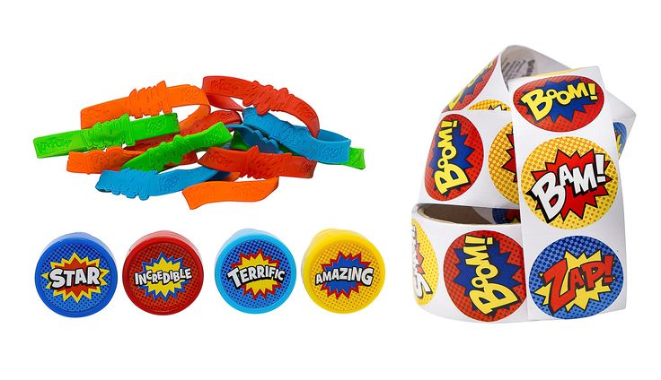 Superhero Party Supply Set: Superhero Sticker Roll (100 Stickers), 24 Piece Superhero Sayings Bracelets, & 24 Plastic Superhero Stampers - Great Addition To Your Superhero Party Supplies & Favors