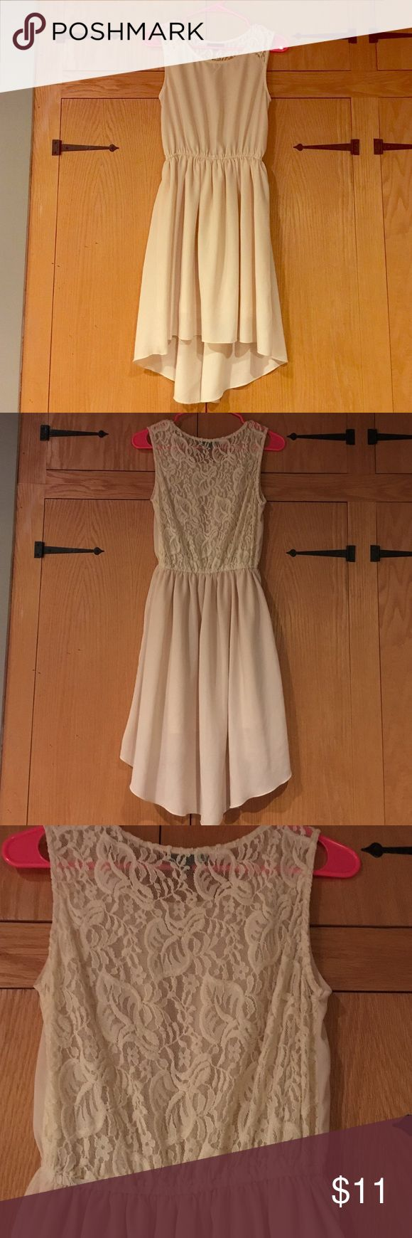 Cream Colored Dress with Lace Back Cream colored high-low dress with a lace back. Brand is Pripe. Size small Pripe Dresses High Low