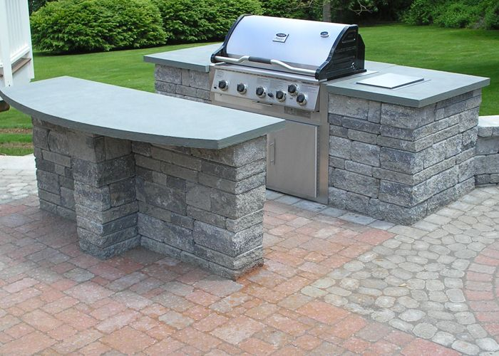 built-in grill with an island