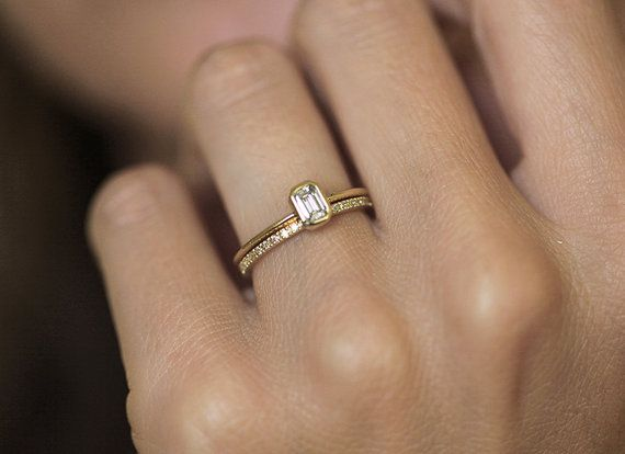 Emerald Diamond Engagement Ring with a Pave Diamond by MinimalVS