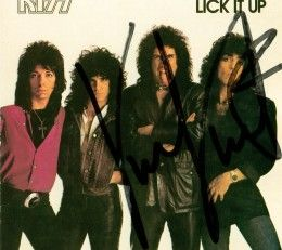 "My CD of KISS' ""Lick It Up,"" autographed by Vinnie Vincent at the 1995 New Jersey KISS Expo. Notice how he wrote his signature across everyone else's faces besides his own? I think Vinnie still has some ""issues"" he needs to work out."