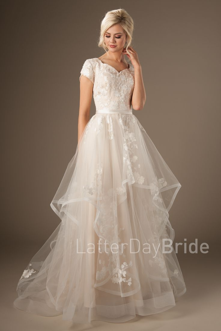 Claralise-fluffy layered a-line modest gown-$1120- Latterday Bride collection- found at Gateway Bridal in SLC
