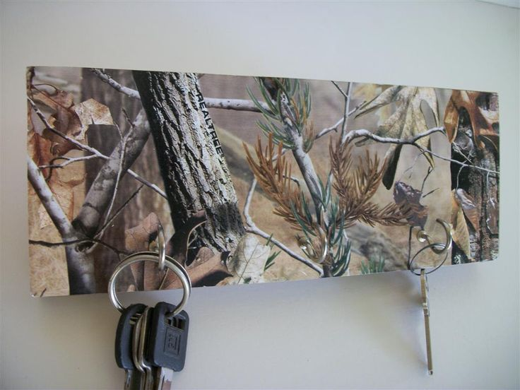 Camouflaged Key Rack Camo Hunting Decor Real Tree Man Fathers Day