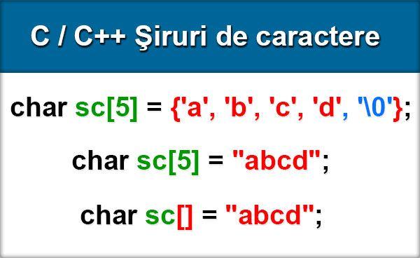 O constantă de tip şir de caractere se declară între două caractere .În memoria internă, o constantă de acest tip este reţinută sub forma unui vector de caractere. Fiecare componentă a şirului (începând cu cea de indice 0) reţine codul ASCII al caracterului pe care îl memorează. ...