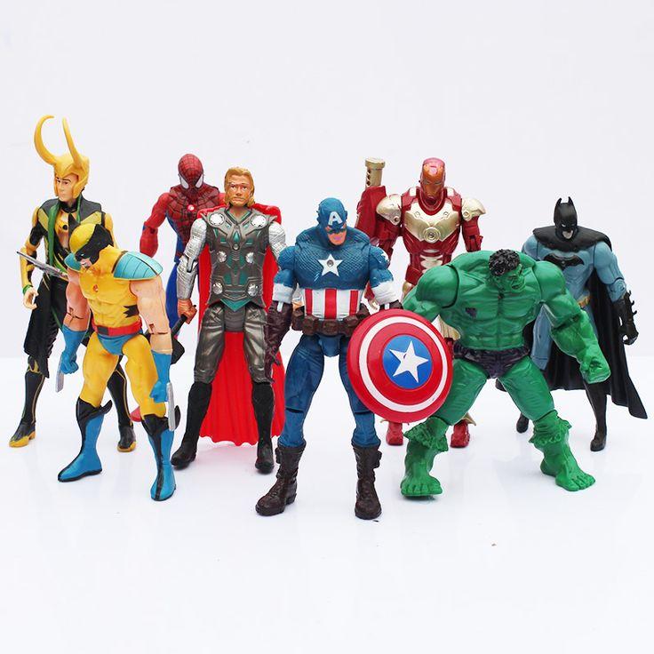 New 8 cái/lốc The Avengers PVC Mô Hình Đồ Chơi Với LED Spider man Hulk Thor Superman Captain America Mỹ Hình Đồ Chơi