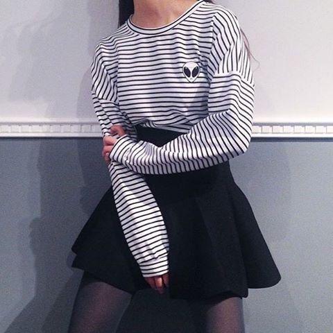 punto grunge de moda de altura de la cintura falda de los años