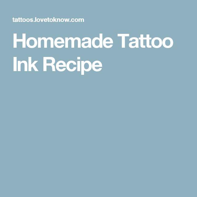 Homemade Tattoo Ink Recipe