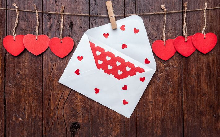Download wallpapers Valentines Day, romantic letter, red hearts, rope, wooden boards